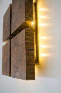 Square Wooden Oak Sconce | iD Lights