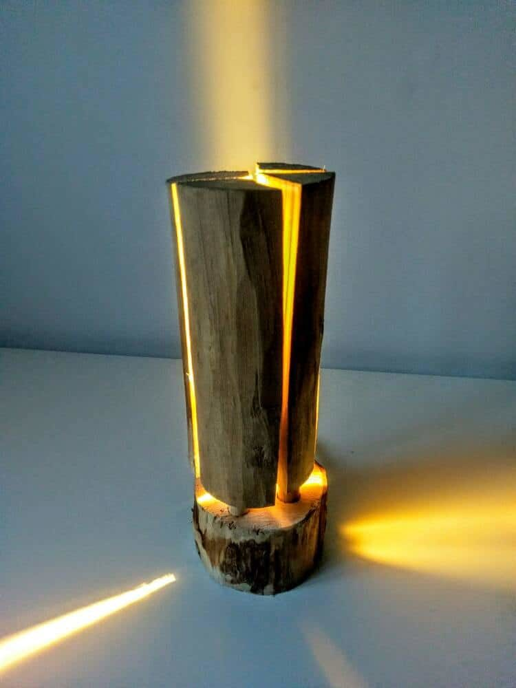 Swedish Torch Rustic Wooden Log Floor Lamp  iD Lights