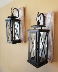 Set of 2 MEDIUM Rustic Wall Mounted Lantern Sconces  iD