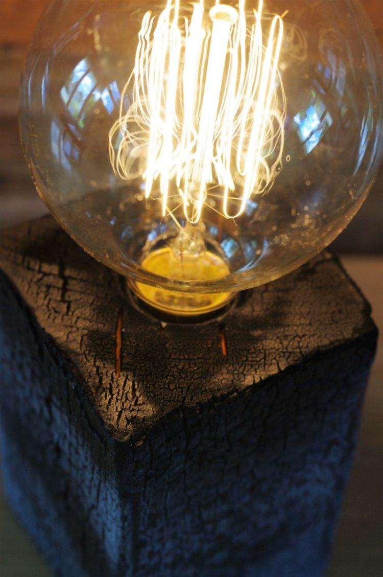 Amazing Burned Wood Table Lamp  iD Lights