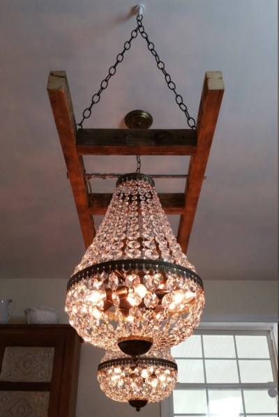 Vintage Farmhouse Ladder with Crystal Chandeliers - iD Lights