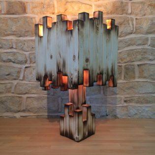 Amazing Burnt Wood Table Lamp  iD Lights