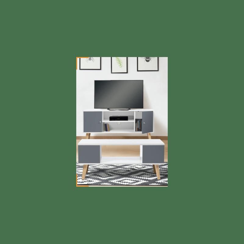 1 meuble tv blanc et gris 1 table basse blanche et grise de la collection effie a prix seduisant