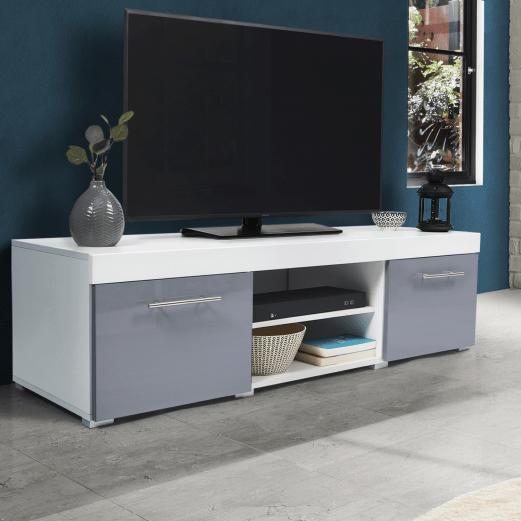 meuble tv contemporain portland bois blanc gris laque