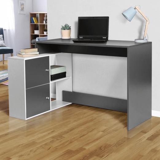 bureau d angle bob bois gris et blanc