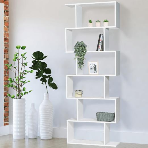 etagere bibliotheque sofia forme s bois blanc 189 cm
