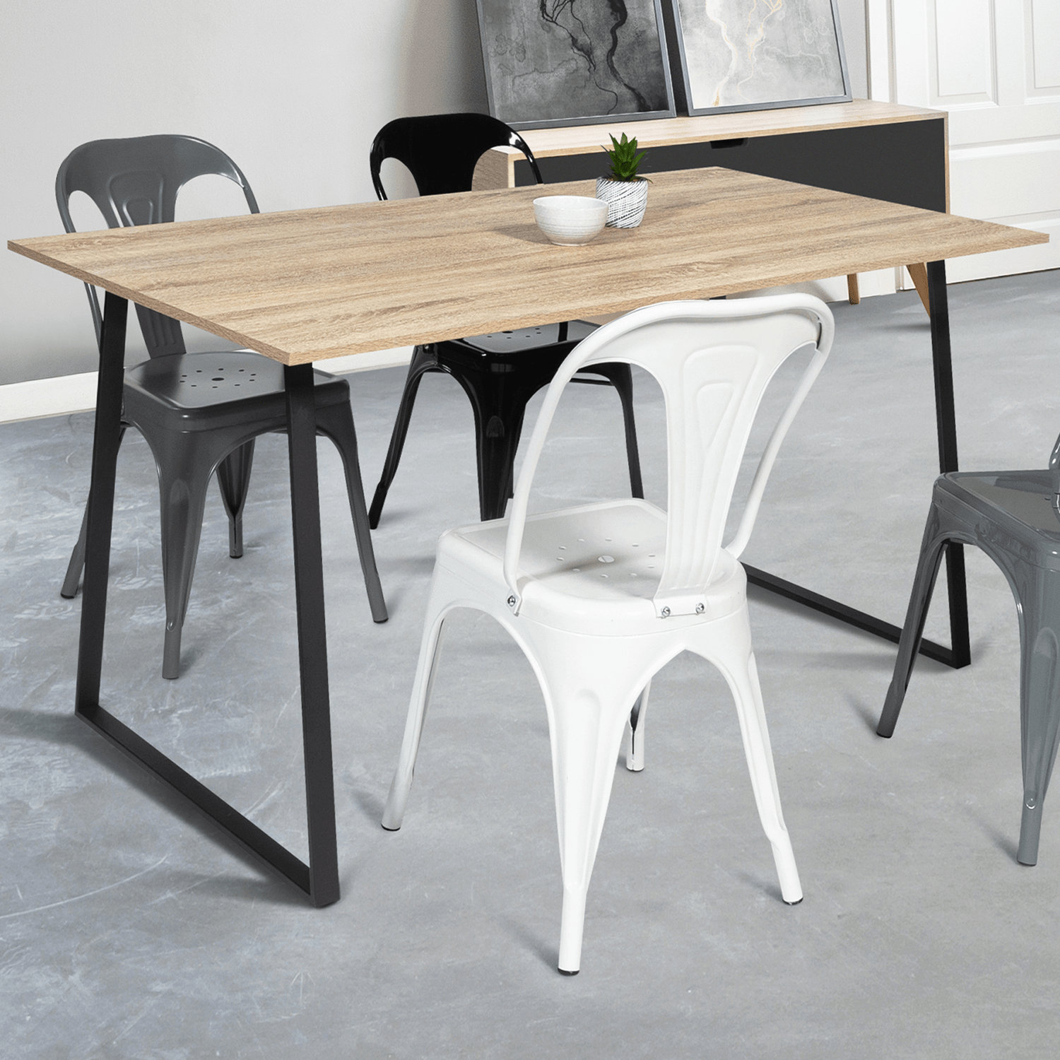 table a manger rosalie design industriel 150 cm idmarket
