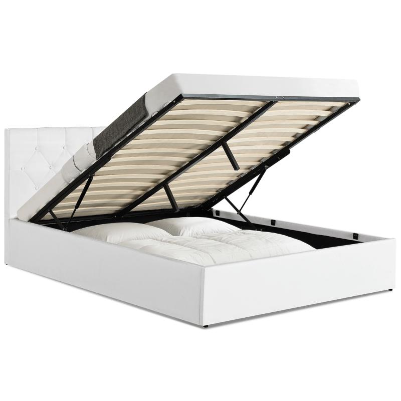 lit coffre blanc avec tete de lit pas