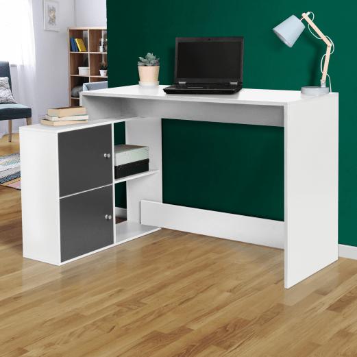 bureau d angle bob bois blanc portes grises
