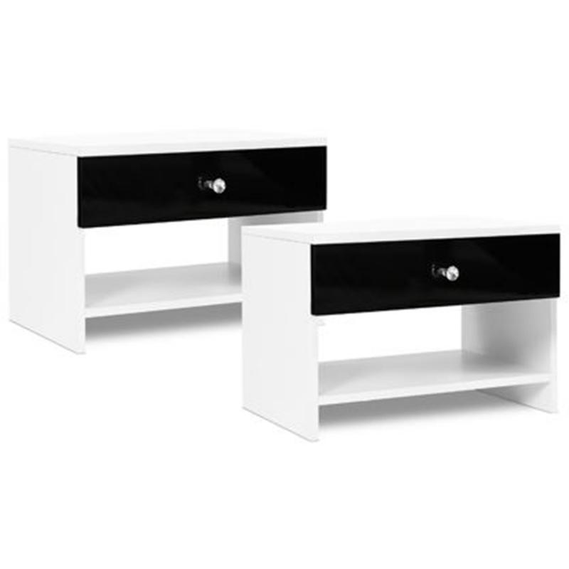 lot de 2 tables de chevet cindy contemporain bois blanc laque noir strass