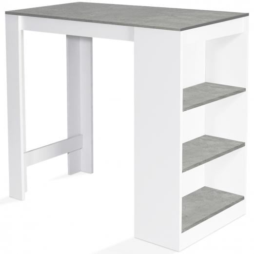 table de bar barth 2 a 4 personnes bois blanc plateau effet beton