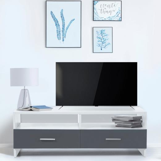 meuble tv falko bois blanc et gris