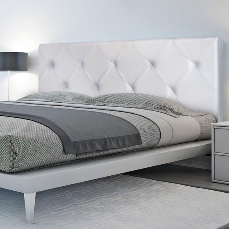Tte de lit capitonne PVC blanc 160x58 cm Accessoires