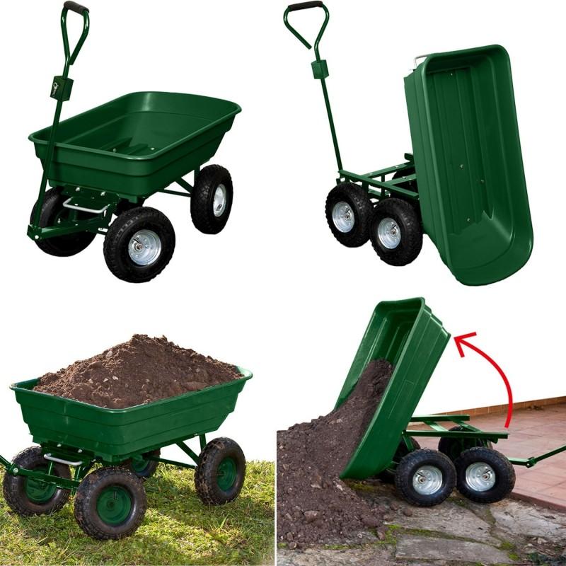 Chariot remorque de jardin vert basculant Chariots et roues de jardin