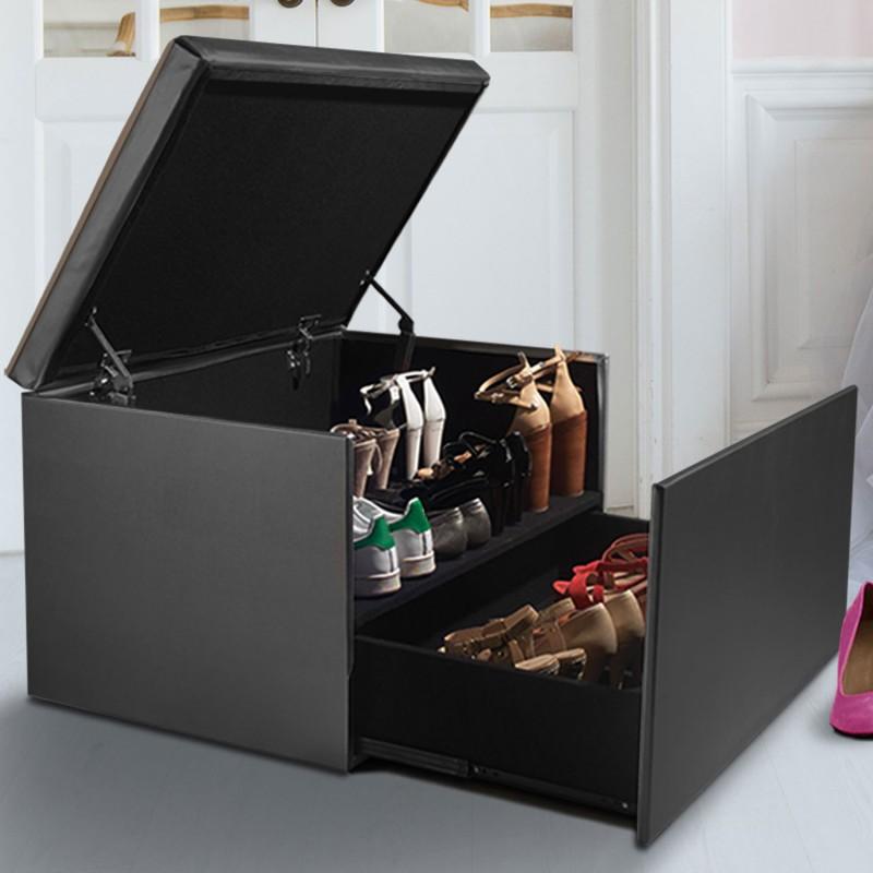 Coffre rangement banquette luxe gris spcial chaussures Accessoire