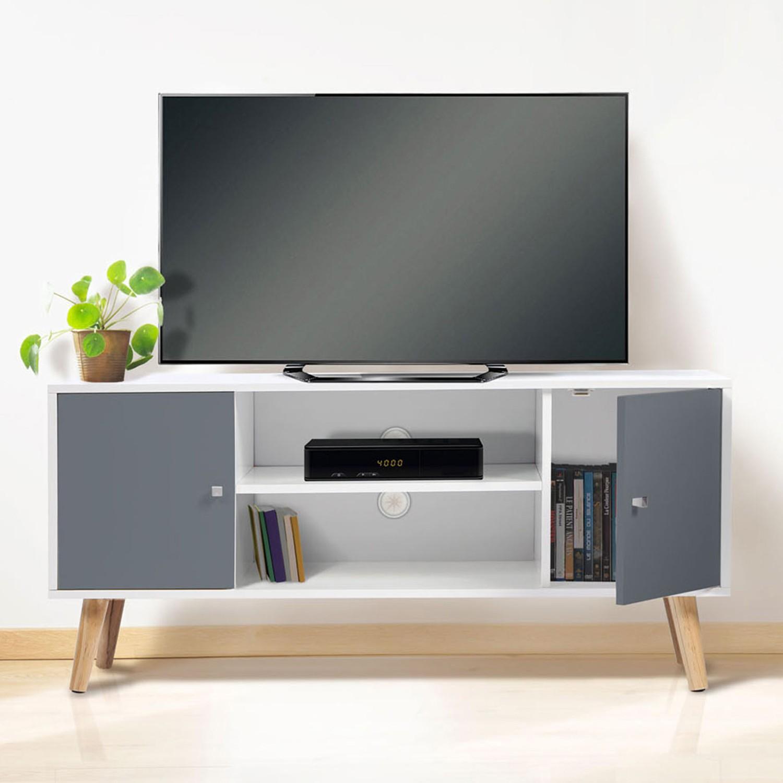 Meuble TV scandinave pas cher en bois gris et blanc  ID