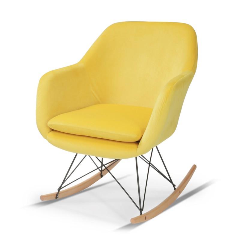 fauteuil scandinave jaune a bascule pas