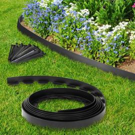bordurette de jardin flexible noire 10 m avec 30 piquets d ancrage