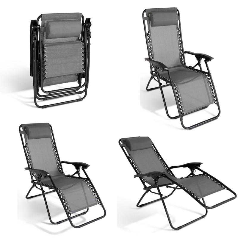 chaise longue pliante pas cher gris