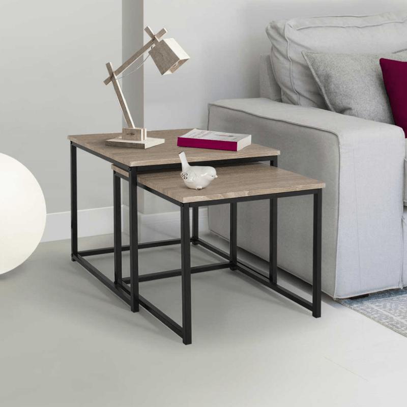 lot de 2 tables basses gigognes detroit design industriel
