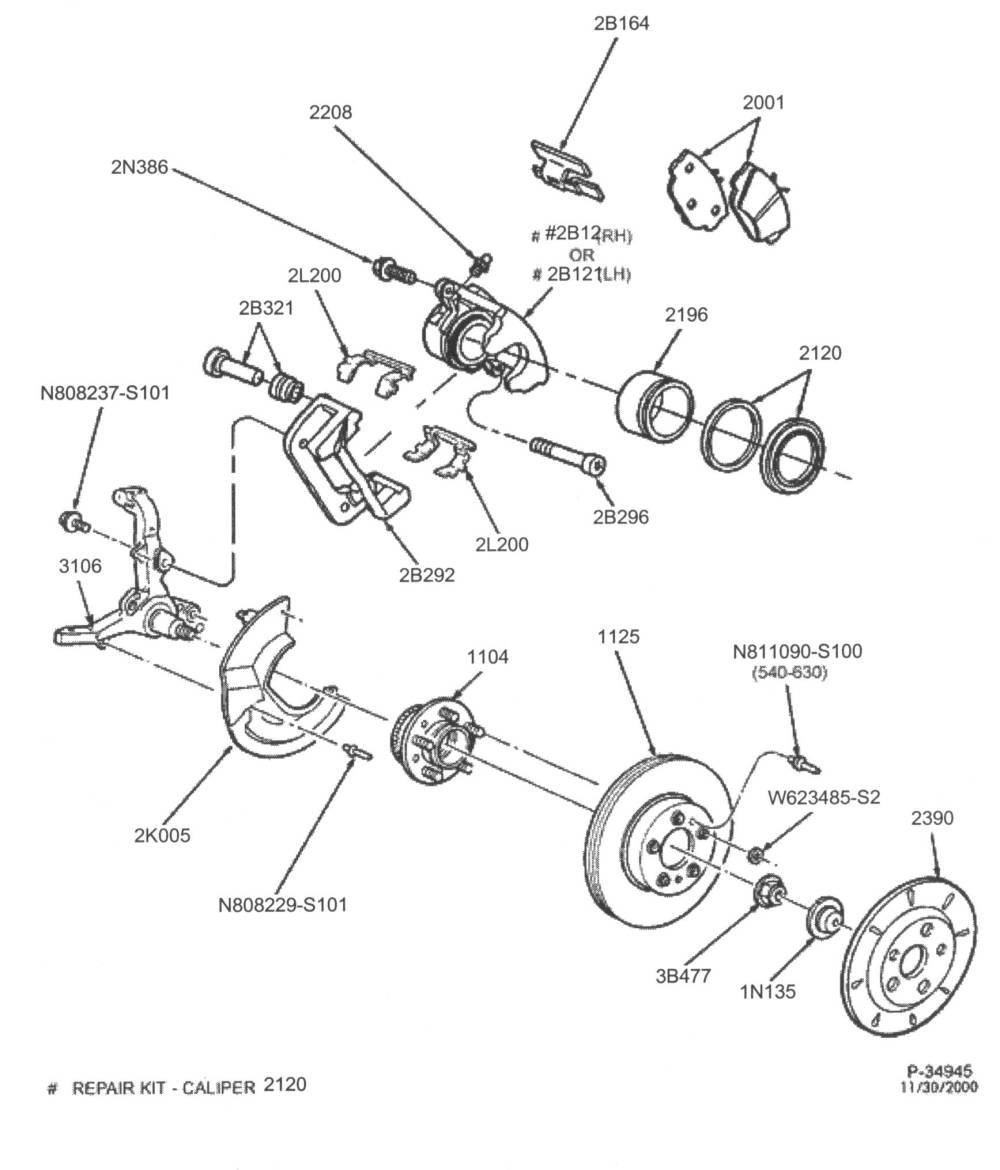 medium resolution of below is an exploded view of the front brake system in a 98 crown vic