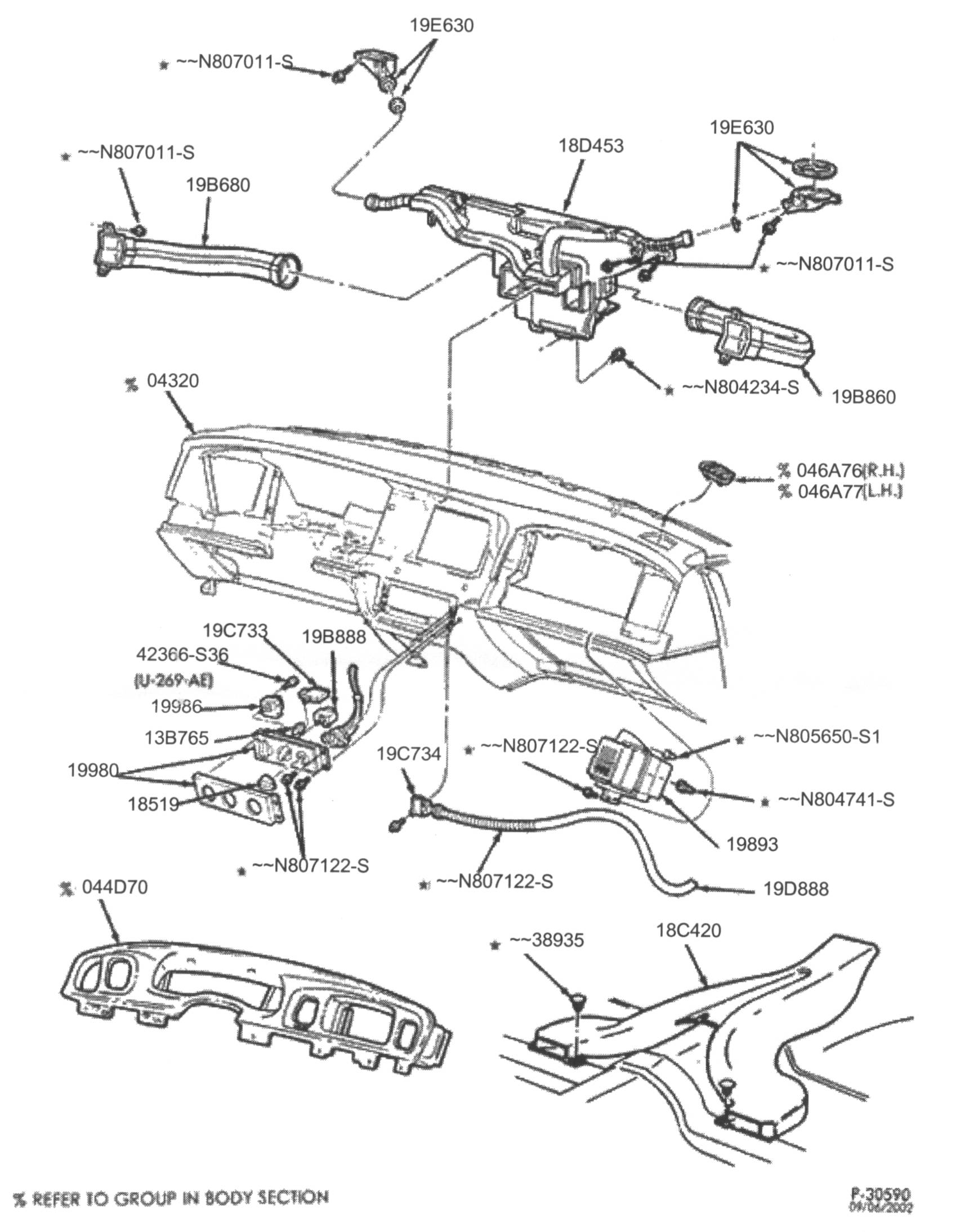 And here's the diagram that your local ford dealership would see if you were attempting to order parts for your crownvic's dashboard