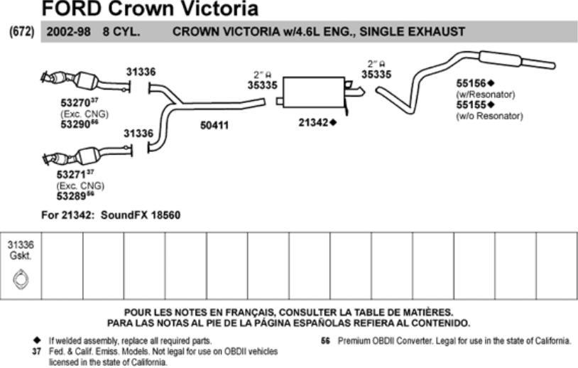 1992 1994 grand marquis crown victoria muffler exhaust car truck exhausts exhaust parts car truck parts