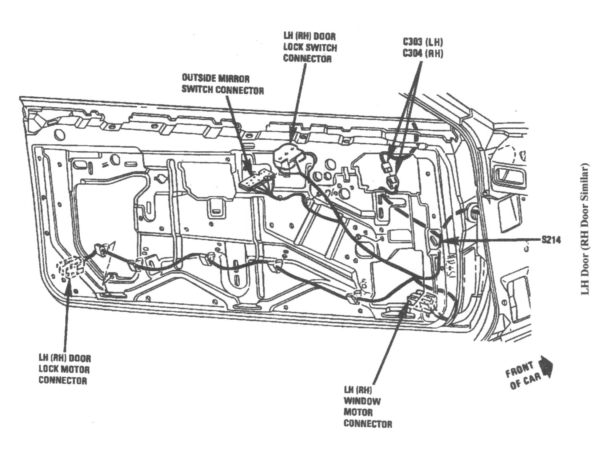 hight resolution of the wiring runs from the back of the door to the front of the door and then through the rubber boot and inside the vehicle under the dash on models without