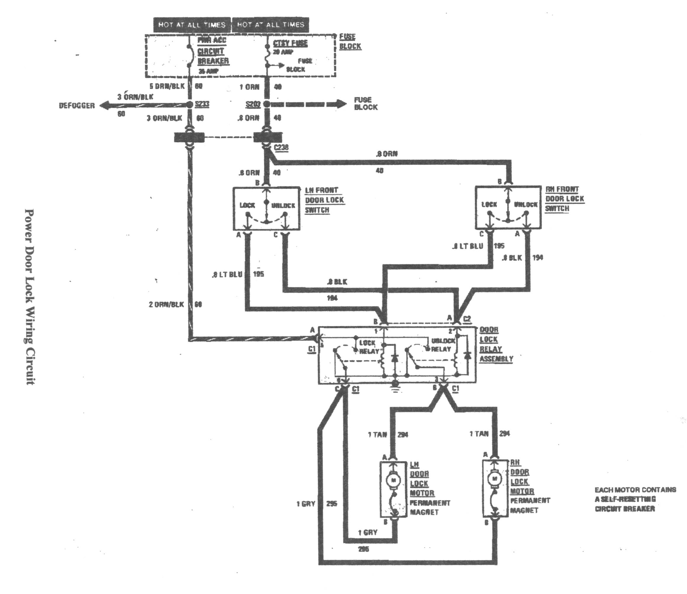 central locking actuator wiring diagram