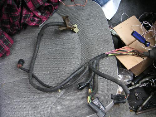 small resolution of here s the damaged area of the wiring harness with the friction tape removed