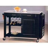 Black Wine Cart With Granite Top And Wheels 5870 CO ...