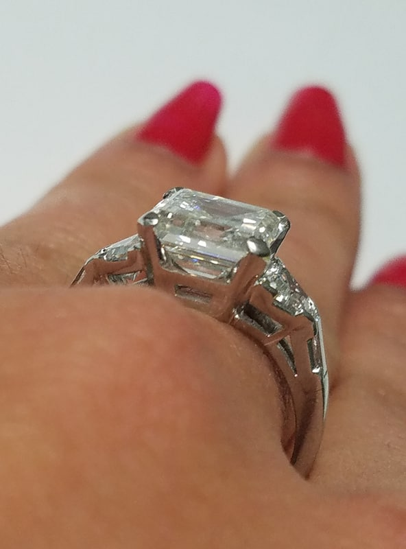 3 Carat SQUARE Emerald Cut Diamond Engagement Ring GIA Certified in Platinum   I Do Now I Don't