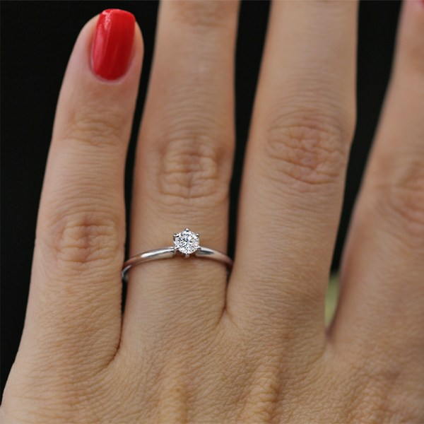 Tiffany Style White Gold Engagement Ring With Solitaire 0