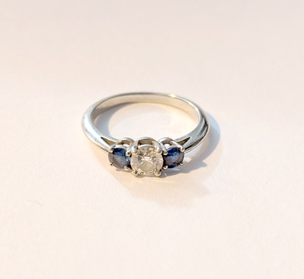 Tiffany & . Three Stone Engagement Ring With Sapphire