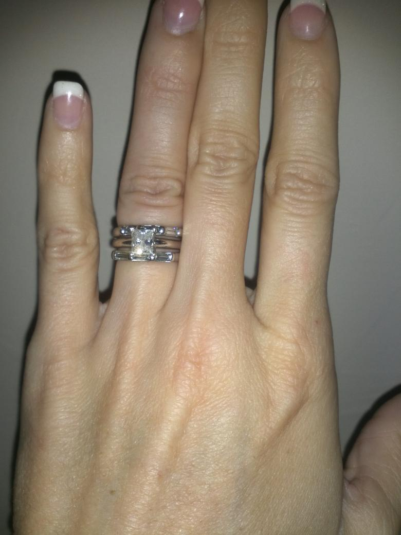 Princess Cut Engagement Ring With 2 Weddings Bands With