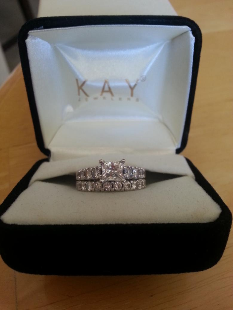 White gold engagement ring and wedding band soldered together  I Do Now I Dont
