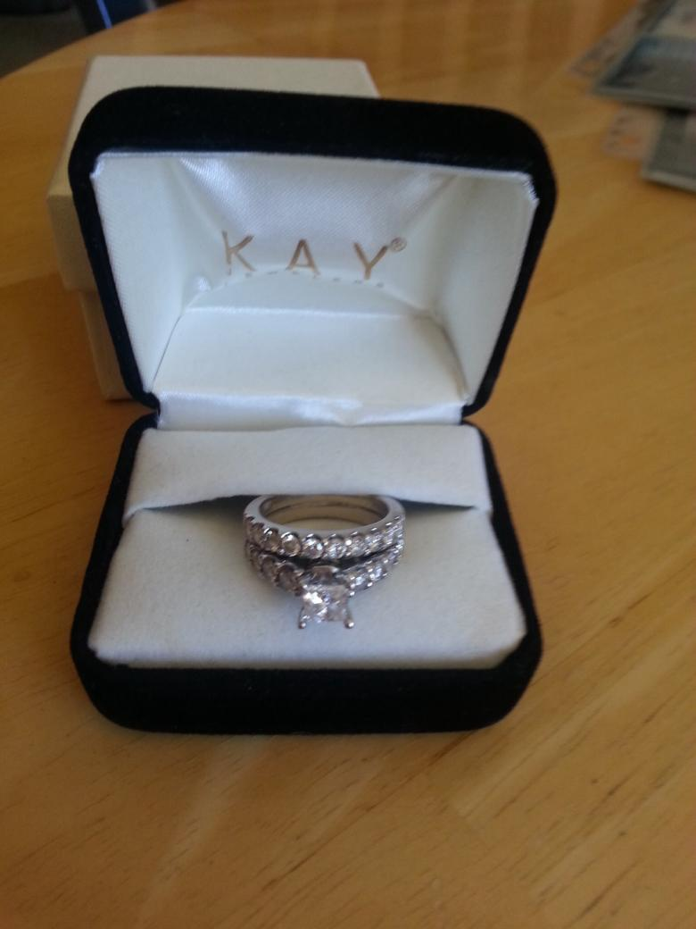 White Gold Engagement Ring And Wedding Band Soldered