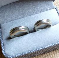 One of a Kind White Gold His and Hers Wedding Band set | I ...