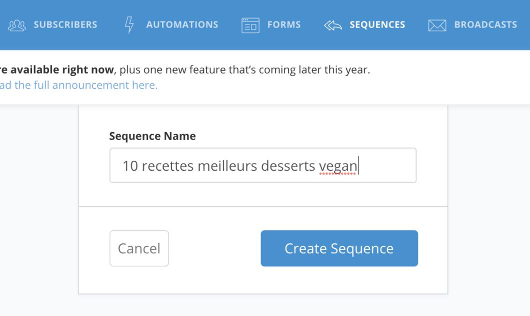 Créer une séquence sur Convertkit