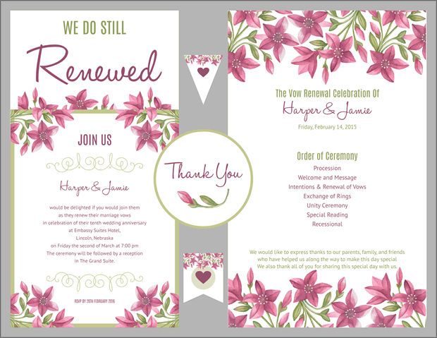 Purple Fl Design Vow Renewal Invitation Suite