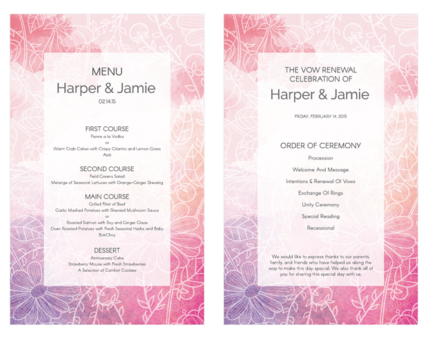 Pink and Purple Watercolor Sketch Vow Renewal Invitation