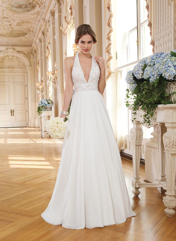 Simple halter wedding gowns for your second time around for Around the neck wedding dresses