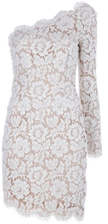 Beige Asymmetric Lace Dress older bride