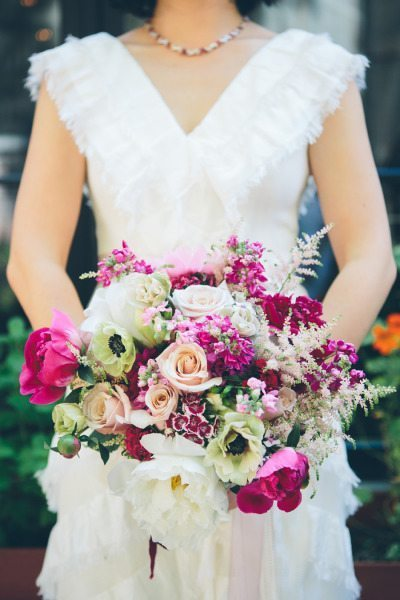 deep pink bridal bouquet