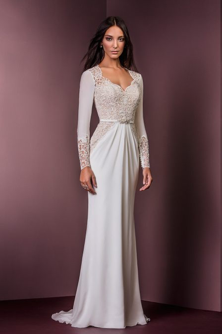 illusion sheath dress by ellis bridal wedding gown
