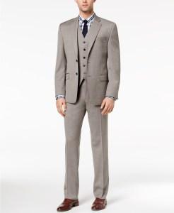 Lauren by Ralph Lauren Men's Classic-Fit Ultra Flex Taupe Birdseye Vested Suit