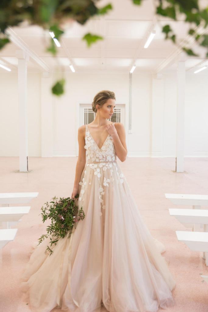 plush pink wedding gown