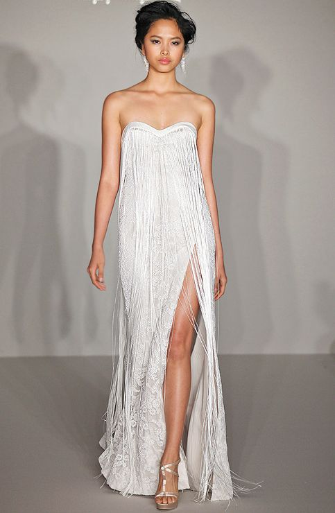 These 10 Fringe Wedding Gowns Will Make You Smile!