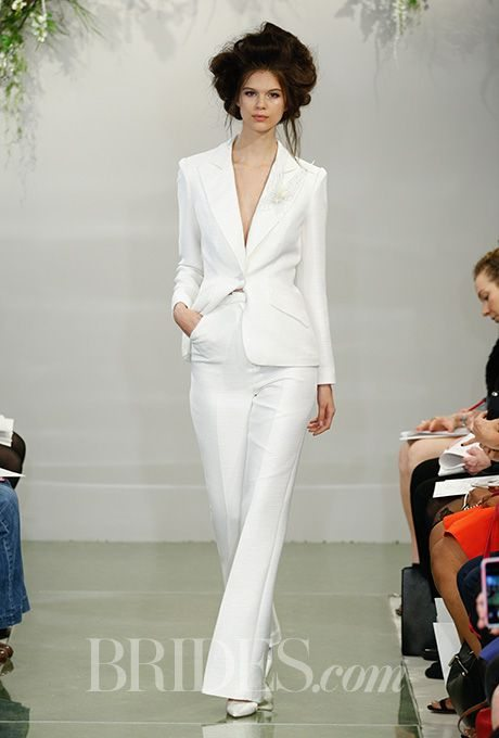 Chic sophisticated suits any bride can rock down the aisle for Womens white dress suit wedding