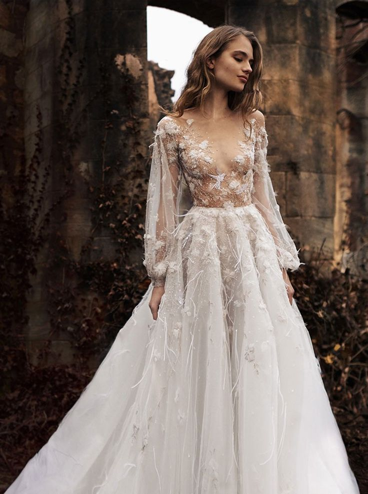 10 whimsical wedding gowns with sleeves fcf737519205d9b972223aa665d30e34 junglespirit Choice Image